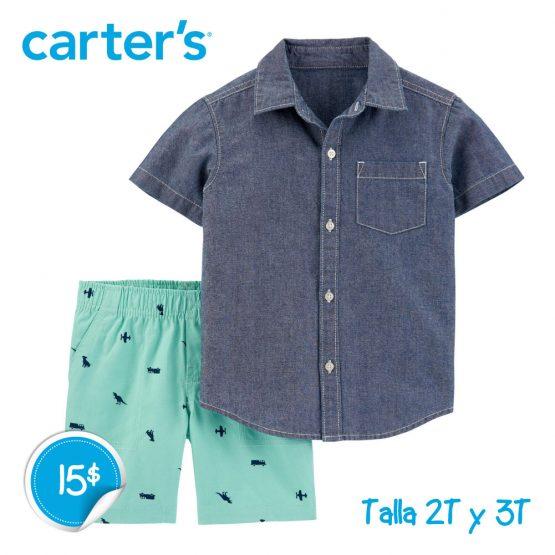 Camisa con botones al frente y pantalón corto 2 piezas