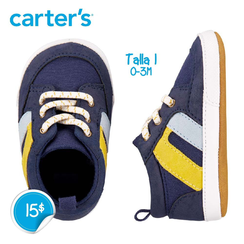 Zapatos Azules raya Amarilla/Gris